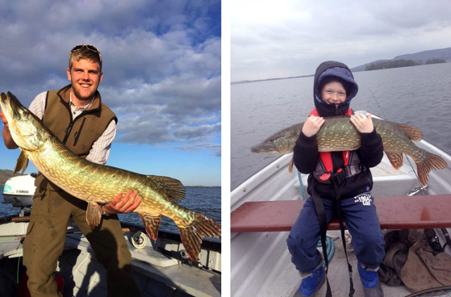 Connor Campbell with one at 25 lbs and 9 year old McKenzie's one tipping the scales at 17 lbs